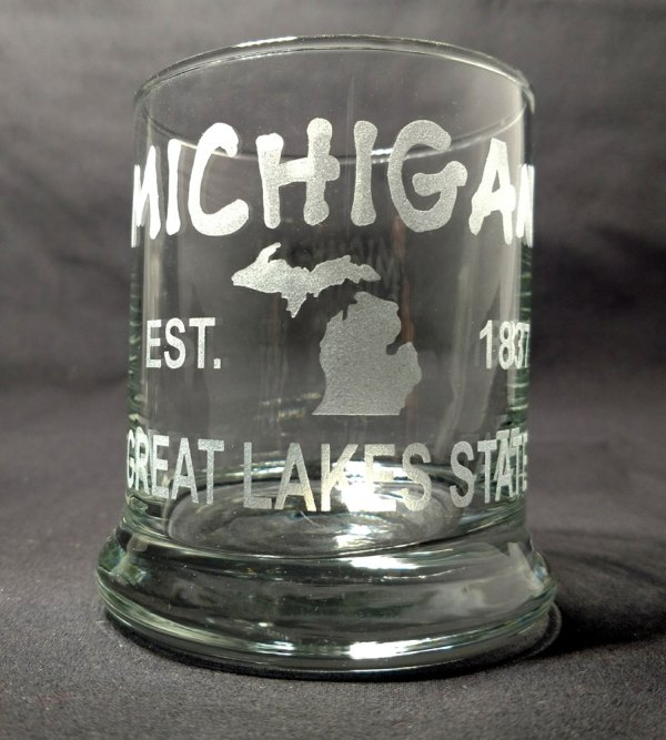 Engraved Michigan Est Great Lakes State Rocks Glass Personalize