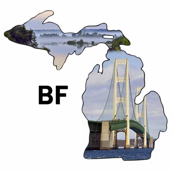 Metal Michigan Shape Ornament Mackinac Bridge Design