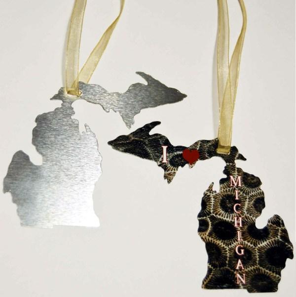 Metal Michigan Shape Ornament