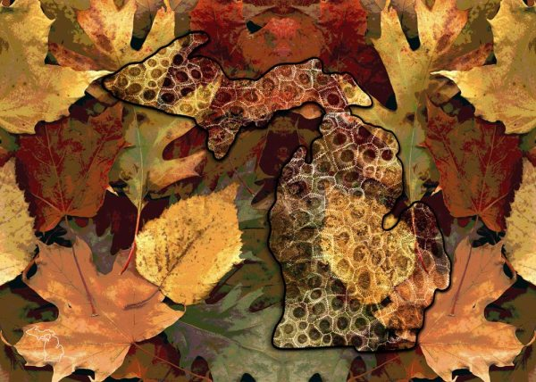 Petoskey Stone Michigan Glass Cutting Board Fall Leaves