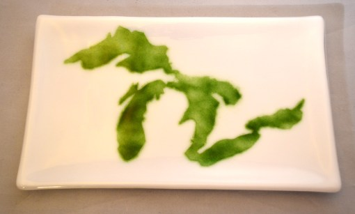 Great Lakes Platter Green White