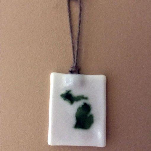 Michigan Ornament Suncatcher Green White