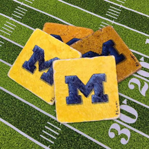 Hand Painted University of Michigan M Coasters
