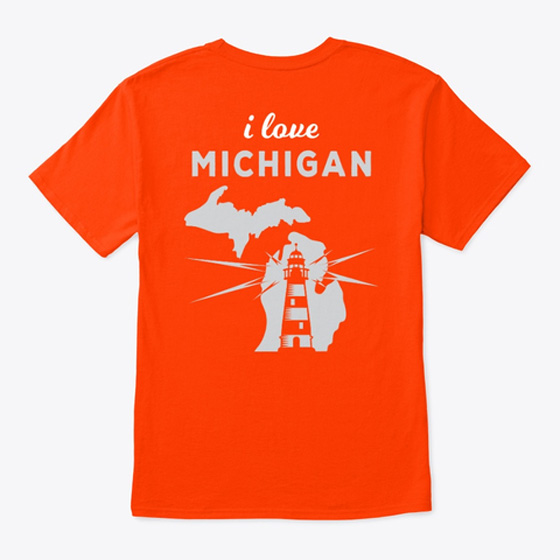Mighty Midwest Michigan Tshirt Lighthouse Backside