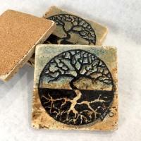 Tree of Life Coasters Hand Painted Travertine Stone
