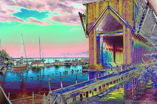 Morning Pink Marquette Ore Dock Art