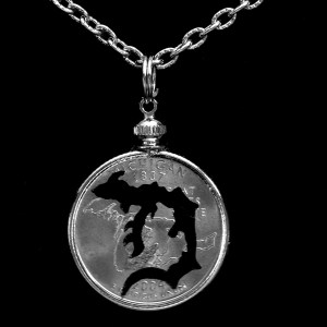 Michigan D Quarter Necklace