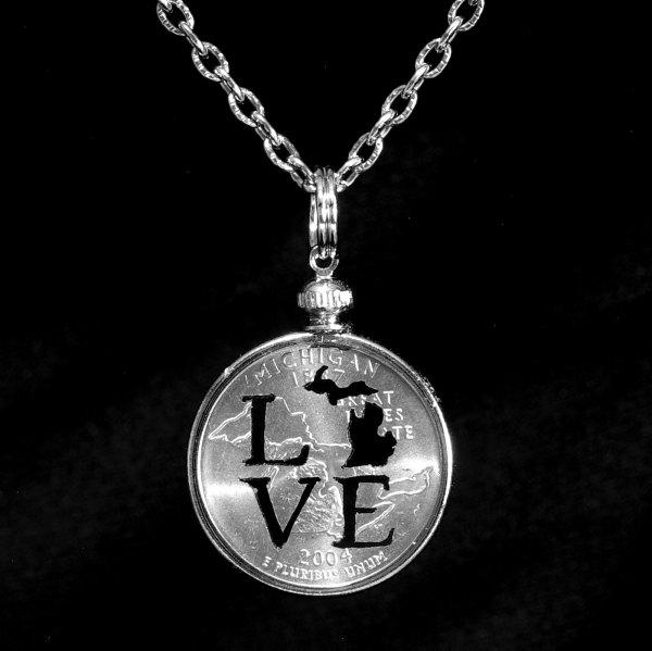 Michigan LOVE Quarter Necklace