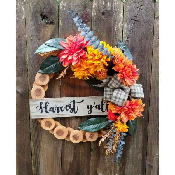Fall Harvest Wreath 19 inch Cedar Slice Yellow Mums