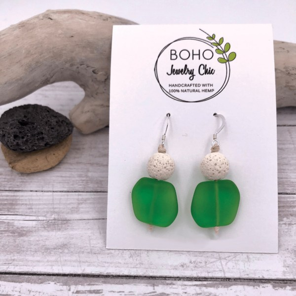 Aromatherapy Diffuser Sea Glass Earrings Green