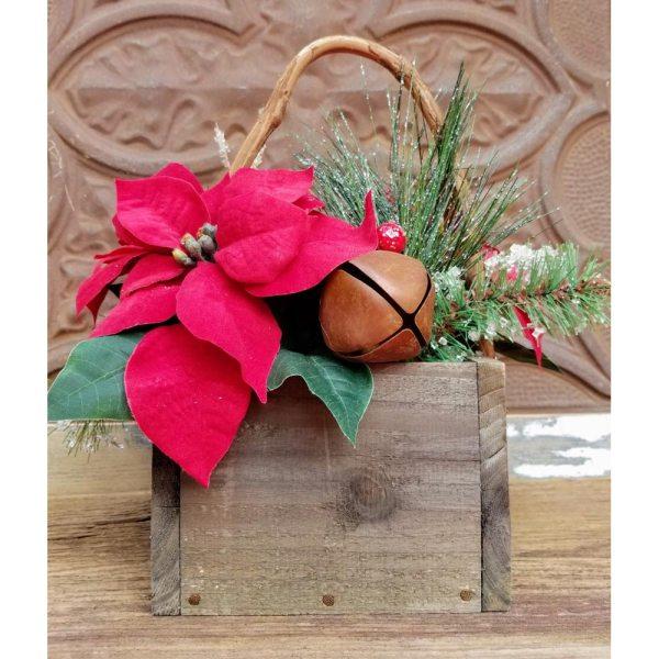 Country Christmas Centerpiece Poinsettia