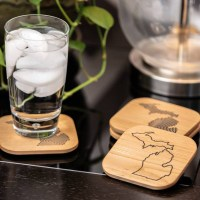 Engraved Wood Michigan Coaster Set