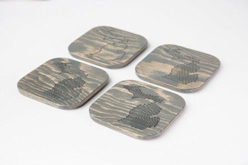 Engraved Wood Michigan Coaster Set