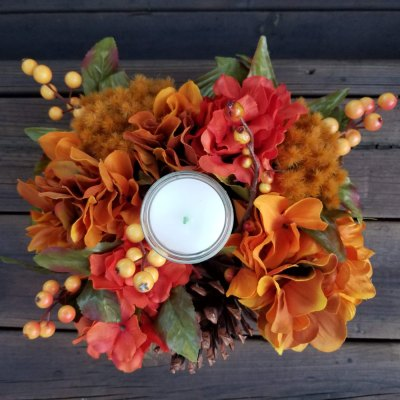 Fall Centerpiece Orange Hydrangeas