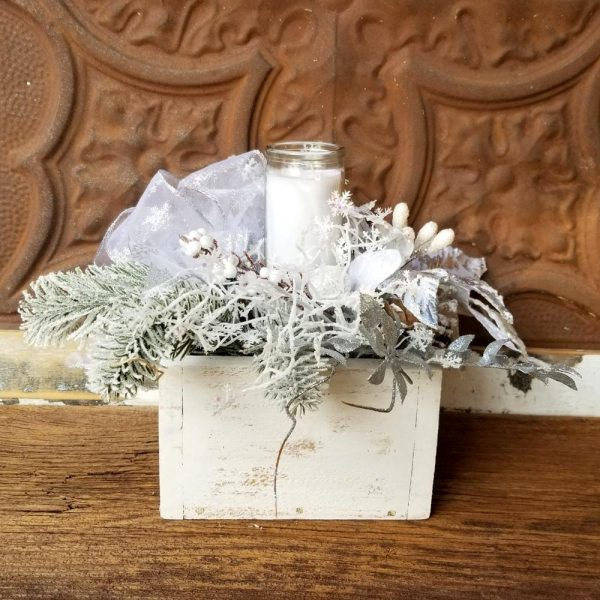 Let It Snow Holiday Centerpiece Silver Poinsettia Pinecones Glass Candle