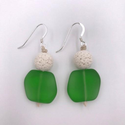 Green Sea Glass Aromatherapy Earrings