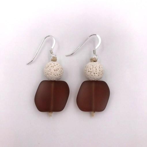 Purple Sea Glass Aromatherapy Earrings
