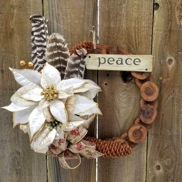 Peace Wreath 13 Inch Black Walnut Slice