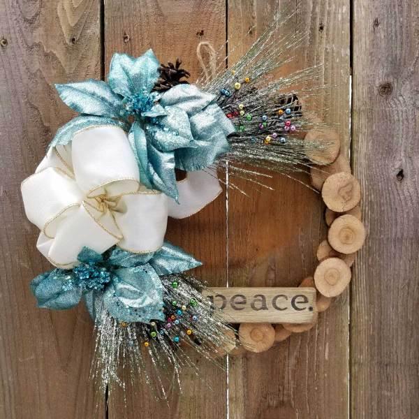 Peace Wreath 13 Inch Oak Slice