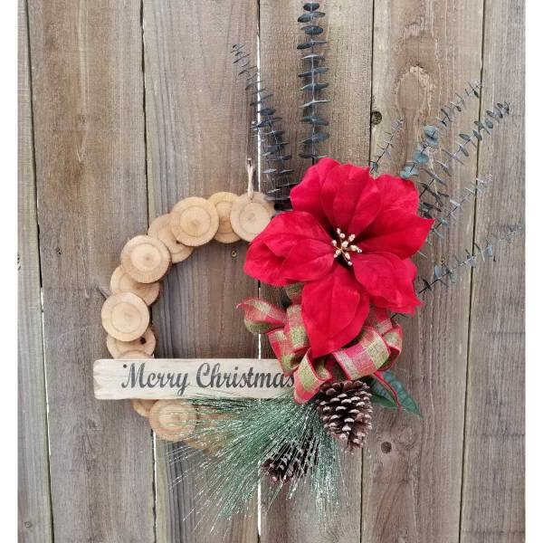 Merry Christmas Wreath 15 inch Oak