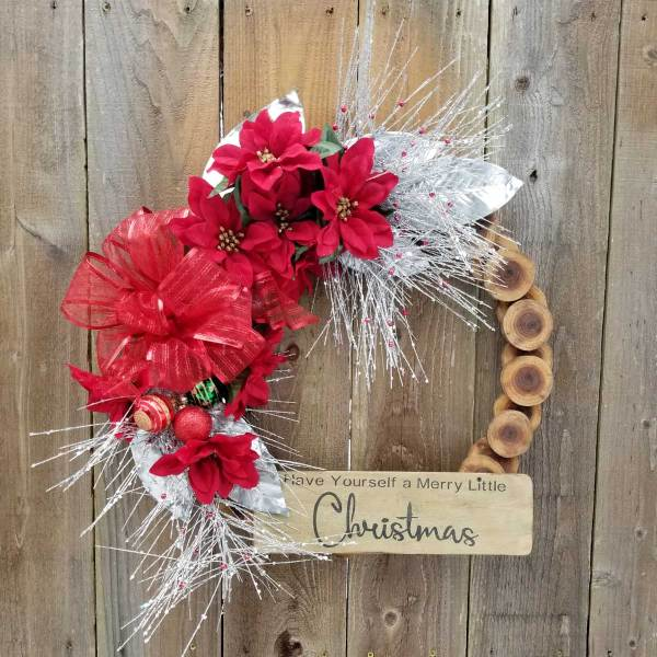 Have Yourself a Merry Little Christmas Wreath 19 inch Black Walnut Slice
