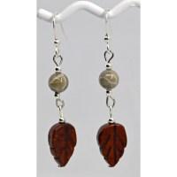 Fossil Coral Jasper Leaf Earrings
