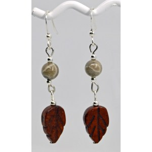 Fossil Coral Jasper Leaf Earrings