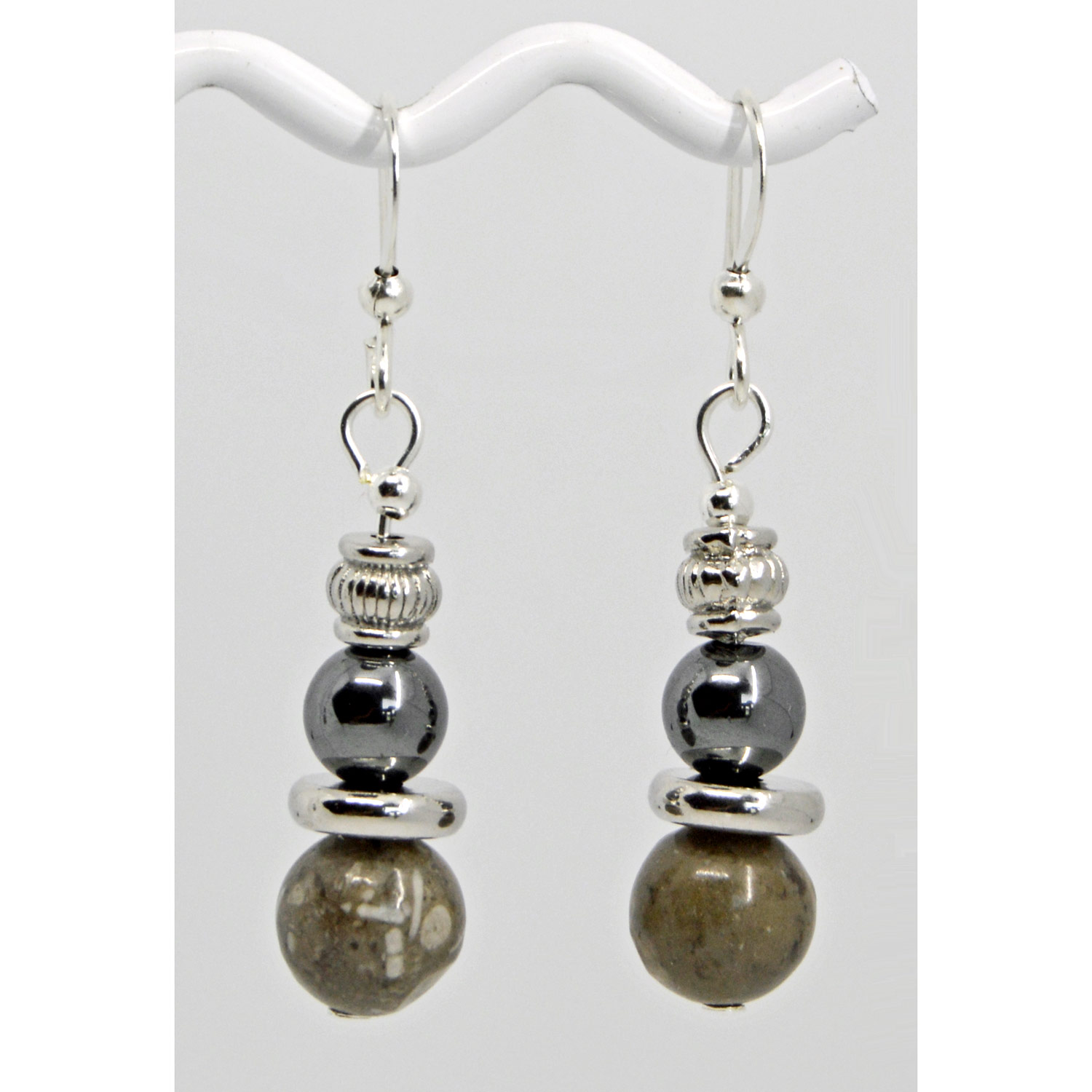 Fossil Coral Hematite Earrings