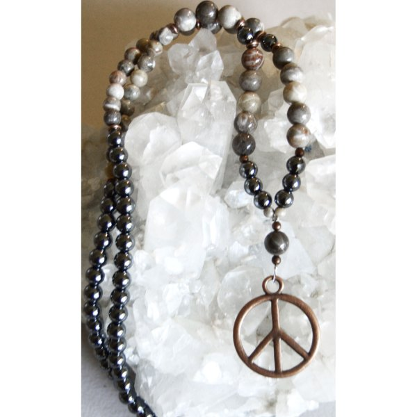 Hematite and Petoskey Stone Necklace with Copper Peace Sign