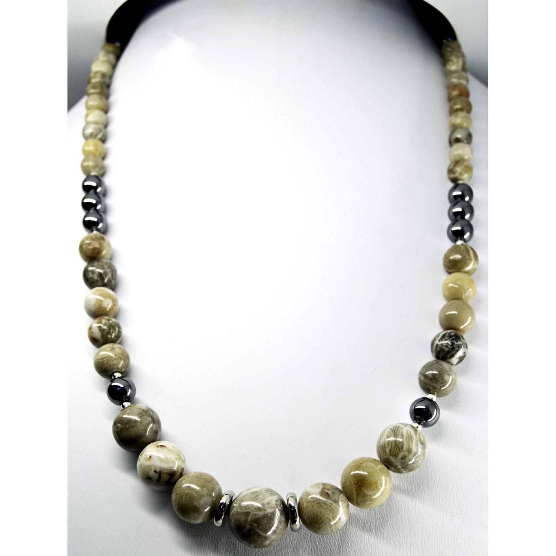 Hematite and Petoskey Stone Necklace