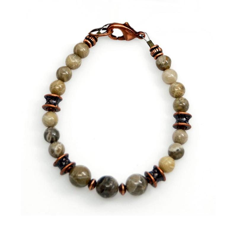 Michigan Petoskey Stone Bracelet  Fossilized Coral  Michigander  Great Lakes  Elastic Bracelet  Cute Gifts  Boho  Beaded MI