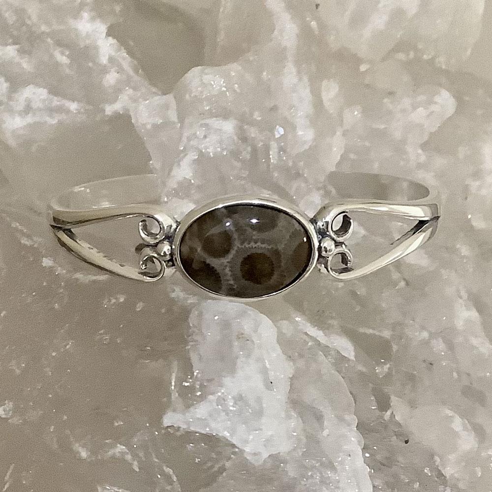 Oval Petoskey Stone Cuff Bracelet