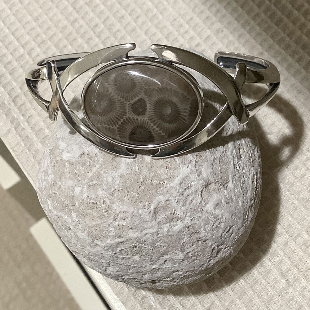 criss cross petoskey stone cuff bracelet