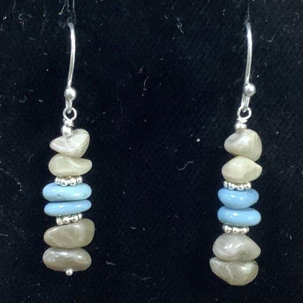 petoskey stone leland blue stone chip earrings