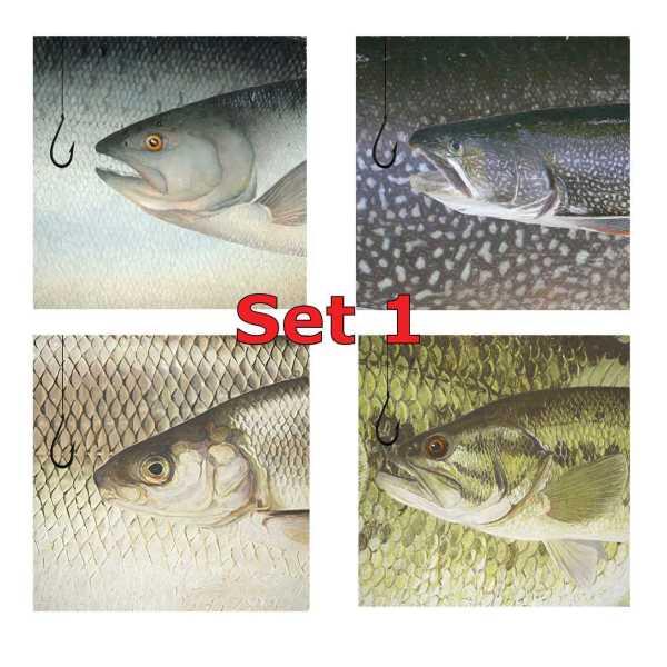 Set 1 Square Coasters Neoprene Michigan Fish Coasters