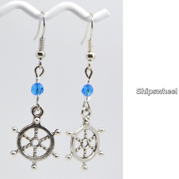 Ships Wheel Silver Charm Dangle Earrings