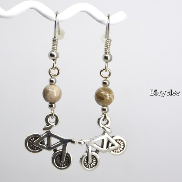 Silver Bicycle Charm Petoskey Stone Dangle Earrings