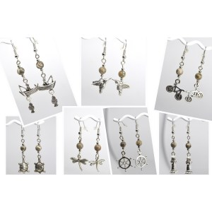 Silver Charm Petoskey Stone Dangle Earrings