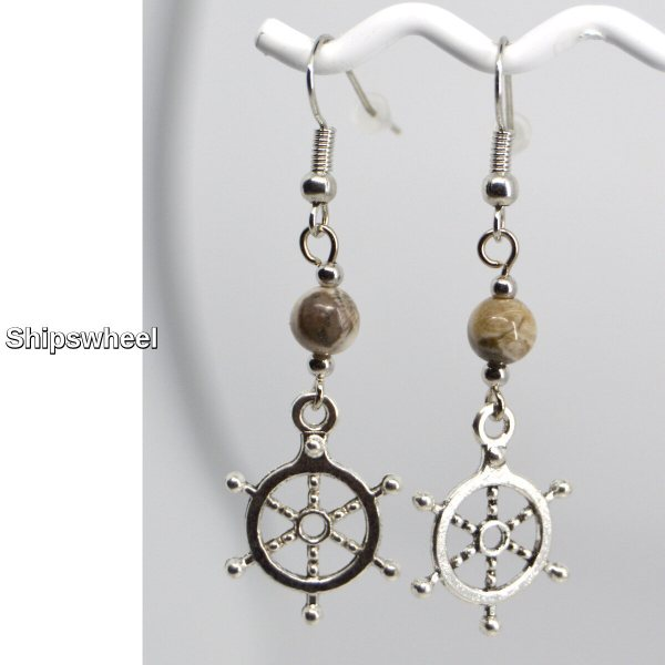 Silver Shipswheel Charm Petoskey Stone Dangle Earrings