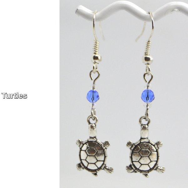 Turtle Silver Charm Dangle Earrings
