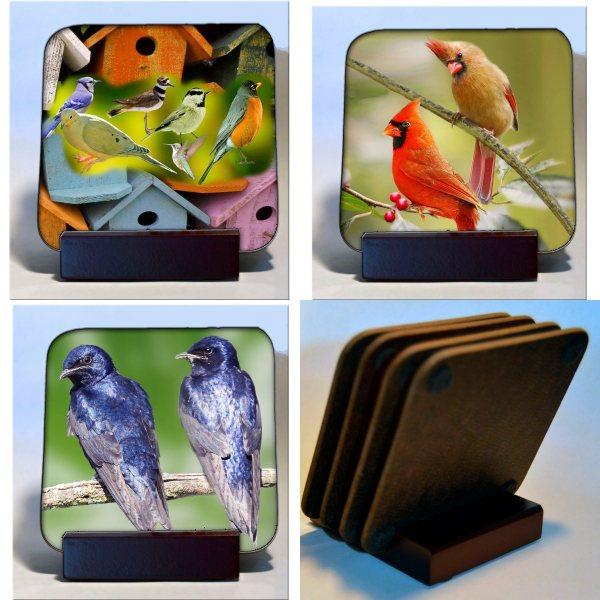 Hardboard Michigan Birds Coasters with Wood Stand