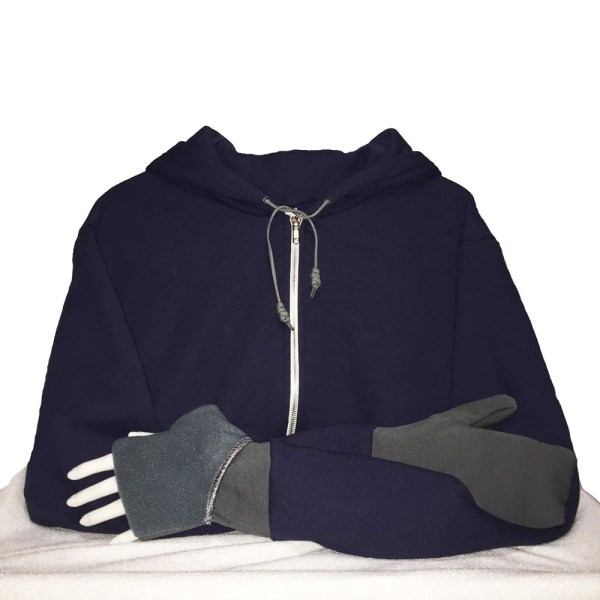Hoodie with Convertible Turtle Flip Mittens Navy Gray