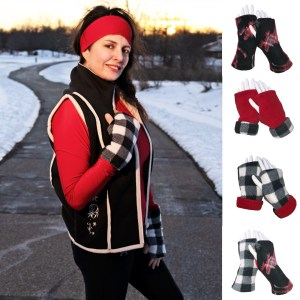 Plaid Moose Reversible Fingerless Gloves