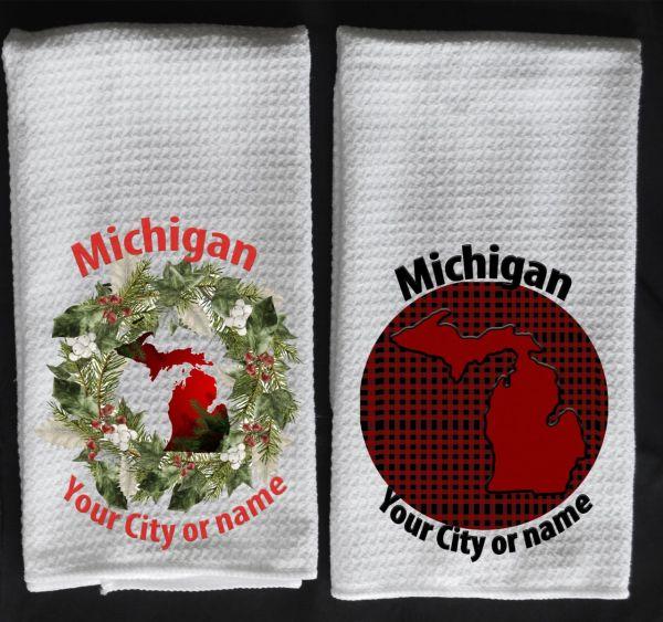 MI in wreath towel check red MI towel