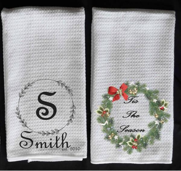 monogram wreath towel Christmas wreath towel