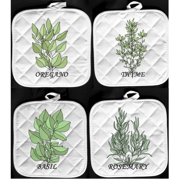 herbs pot holder hot pads oregano thyme basil rosemary