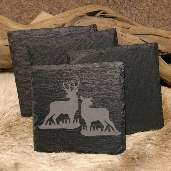 Buck and Doe in Grass Slate Coaster
