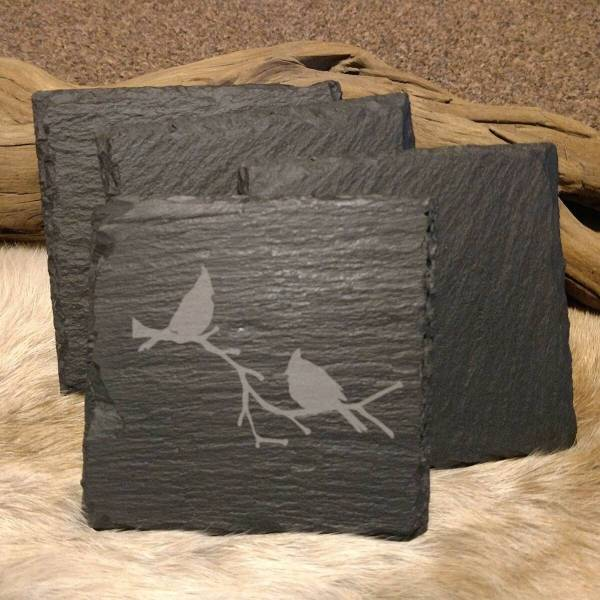 Cardinals on Brach Slate Coaster