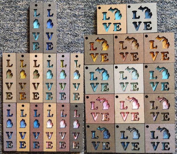 LOVE Michigan Layered Wood Keychains