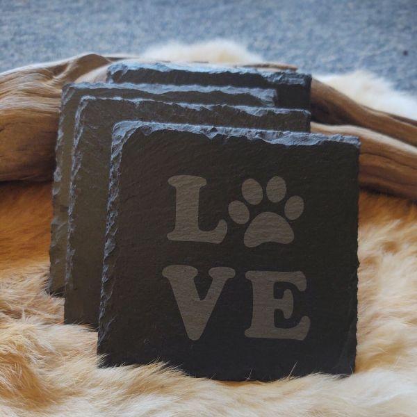LOVE Paw Print Slate Coaster